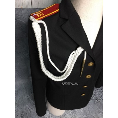 Аксельбант солдатский белого цвета с 1 наконечником