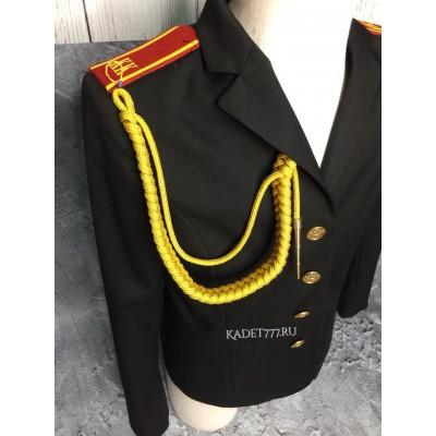 Аксельбант солдатский желтого цвета с 1 наконечником