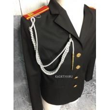 Аксельбант солдатский серебряного цвета с 1 наконечником