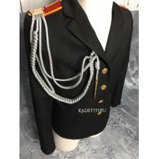 Аксельбант офицерский для кадет серебряного цвета с одним наконечником