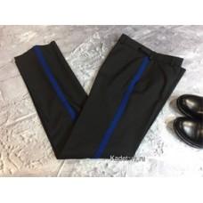 Брюки для кадет черные с синим лампасом