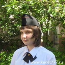 Пилотка кадетская из полушерсти с красным кантом