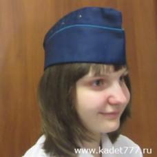 Пилотка синяя голубой кант