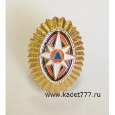 Кокарда МЧС золотая металлическая для кадет