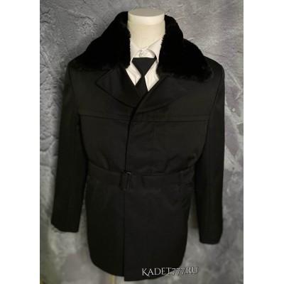 Бушлат кадетский зимний черного цвета.
