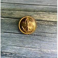 Металлическая пуговица ВМФ золотая с кантом
