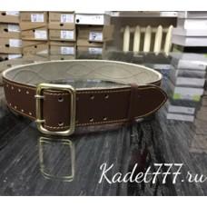 Ремень двухшпиньковый поясной коричневого цвета кожаный