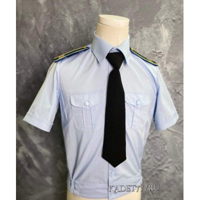 Рубашка кадетская с коротким рукавом голубого цвета