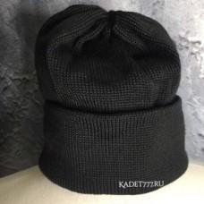 Шапка двойная черного цвета для кадет полушерстяная