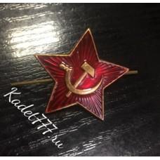 Звезда металлическая красная на пилотку